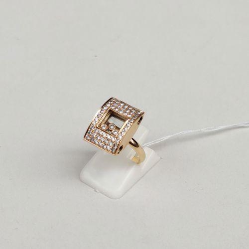 Bague en or jaune 750°/00 sertie de trois diamants mobiles, tour de doigt 52 Poi…