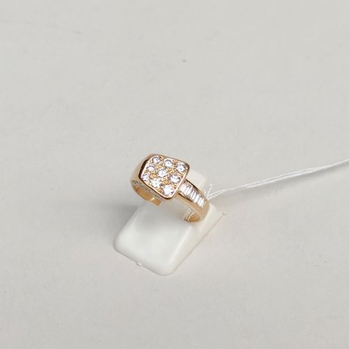Bague en or jaune 750°/00 sertie de diamants baguettes et ronds Tour de doigt : …