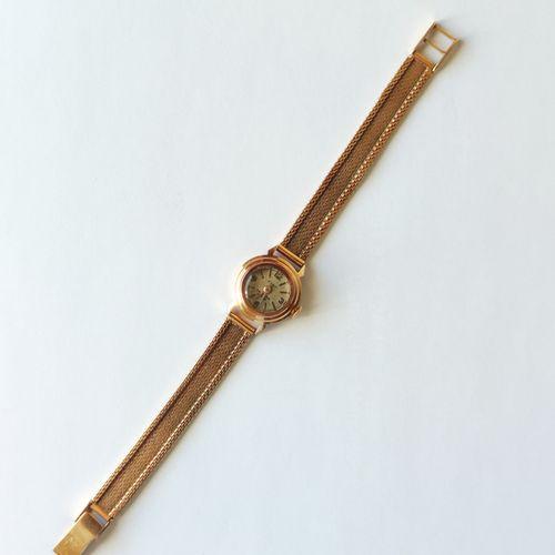 MONTRE BRACELET de Dame, boitier et bracelet en or jaune 750°/°°, mouvement méca…