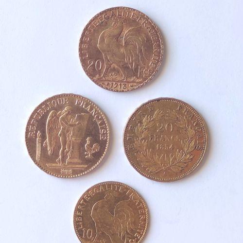 LOT: Trois pièces de 20 Francs or 1854 1896 1913 et une pièce de 10 Francs or 19…