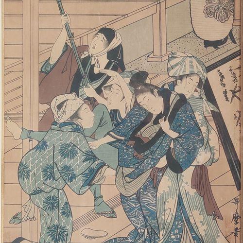 LOT de trois ESTAMPES du JAPON, une d'après : Utamaro vendues en l'état sous enc…