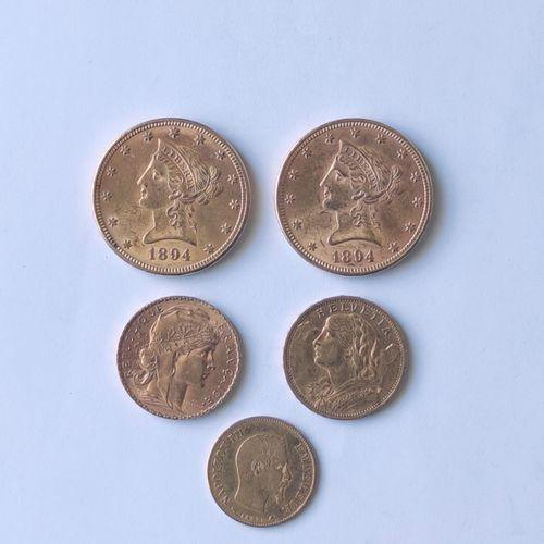 LOT de cinq pièces en or USA, France et Suisse : Deux pièces de 10 Dollars à l'a…