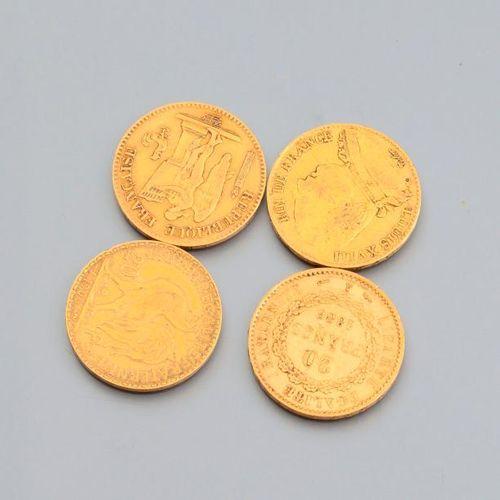 Lot de 4 pièces de 20 FRF or, Louis XVIII, république Française et type Marianne
