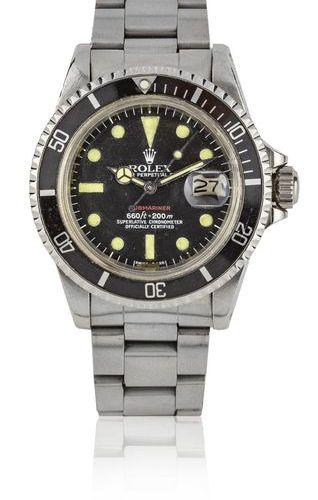 "ROLEX Submariner ""Red"", ref. 1680 Montre bracelet de plongée en acier n° 56***56…"