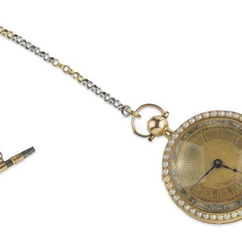 DUCHENE ET FILS Montre de poche en or 18k émaillé doré et perles sur la lunette …