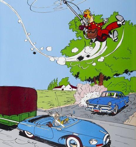 """Franquin : Spirou, plaque émaillée """"Turbotraction et Fantacoptère"""" n°FR 12/50, 1…"""