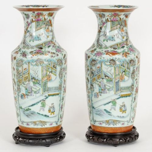 China, late 19th century Pair of Canton polychrome porcelain vases decorated wit…