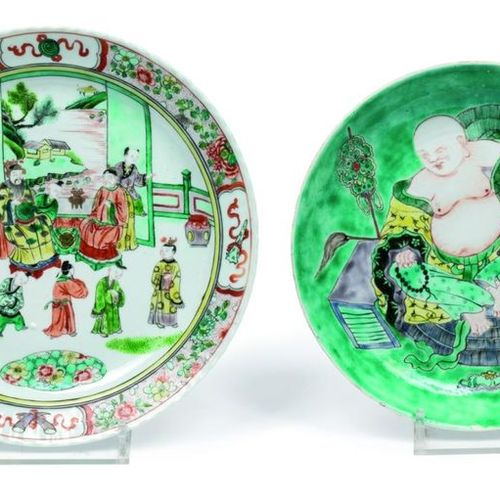 China, XIXth Lot consisting of a porcelain compote dish decorated with a budai a…