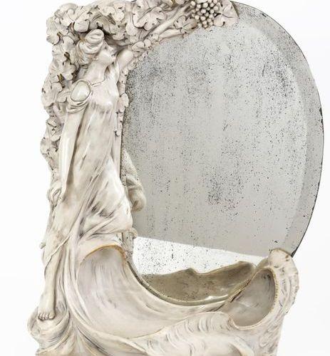ROYAL LUX BOHEMIA Art Nouveau style mirror in white porcelain, partially gilded …