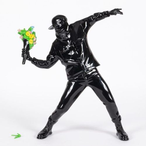 According to BANKSY Flower bomber black Medicom Toy China Resin, MMXV Full Colou…