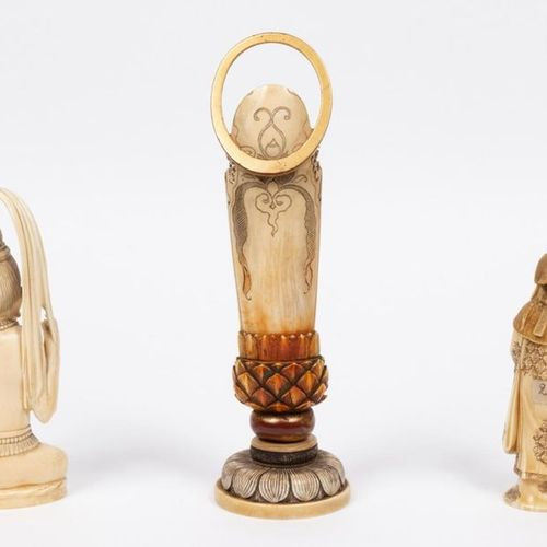 Japan, Meiji period (1868 1912) Set of three carved ivories representing a deity…