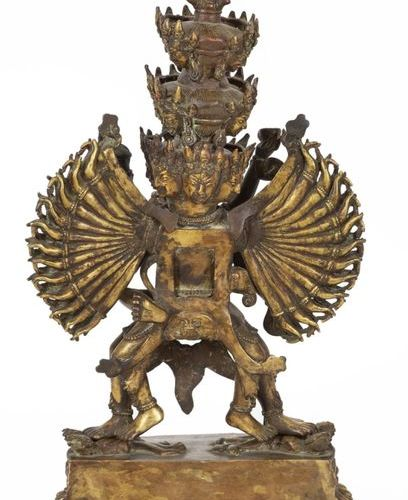 Tibet, XIXth Important gilt bronze statue of Kapaladhara Hevajra with coral and …