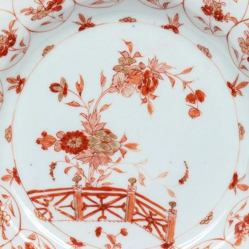 China, Kangxi period (1662 1722) A pair of polylobed porcelain plates with red i…