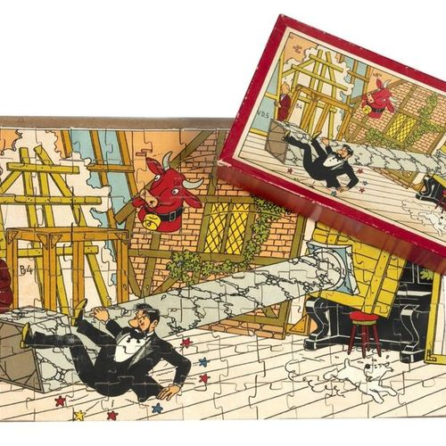 "Hergé : Tintin, wooden puzzle ""The 7 crystal balls"" (captain's fall), 2nd series…"
