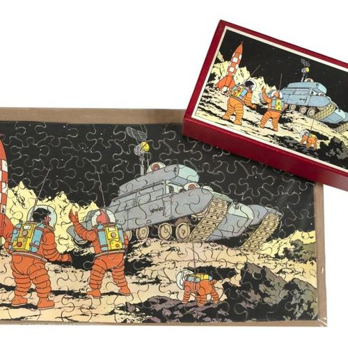 "Hergé : Tintin, wooden puzzle ""We walked on the moon"" (lunar contraption), 2nd s…"
