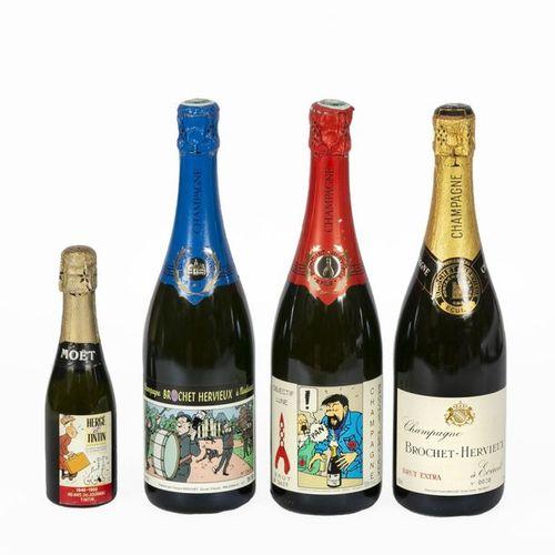Hergé : MISCELLANEOUS: Tintin, 2 bottles of Champagne Brochet Hervieux, 1er cru,…