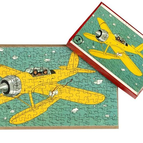 """Hergé : Tintin, cardboard puzzle """"The Mysterious Star"""" (the plane), 2nd series, …"""