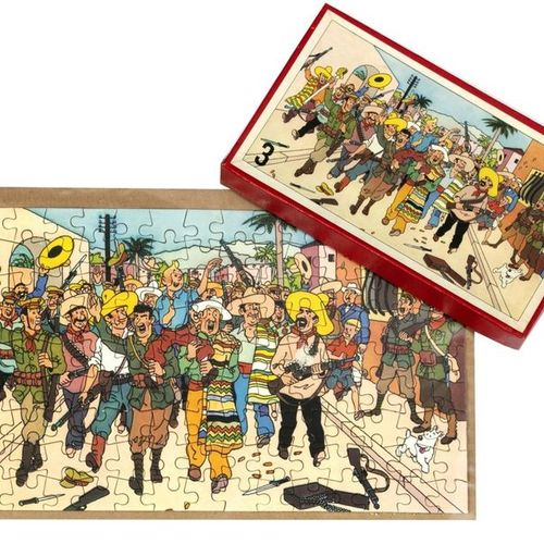 "Hergé : Tintin, cardboard puzzle ""Broken Ears"" (the crowd), 2nd series, 1950s. C…"