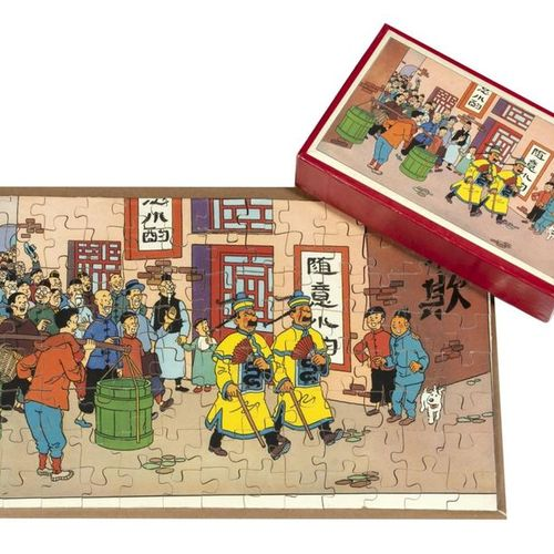 """Hergé : Tintin, wooden puzzle """"The Blue Lotus"""" (the Dupondts disguised as Chines…"""