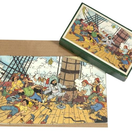 "Hergé : Tintin, wooden puzzle ""The Secret of the Unicorn 2"" (fight on the ship),…"