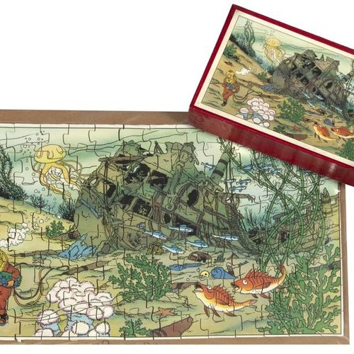 "Hergé : Tintin, wooden puzzle ""The Treasure of Rackham the Red"" (Tintin the Dive…"