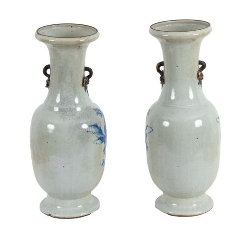 China, 19th century Pair of baluster vases in cracked Nanjing porcelain with Tob…