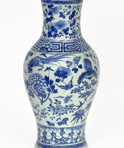 China, 19th century Porcelain baluster vase decorated with blue white enamels of…