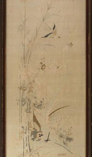 China, late 19th century Set of three polychrome silk embroideries, one pair of …