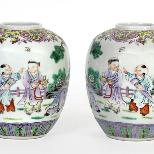 China, late 19th century Pair of small ginger pots decorated in polychrome ename…