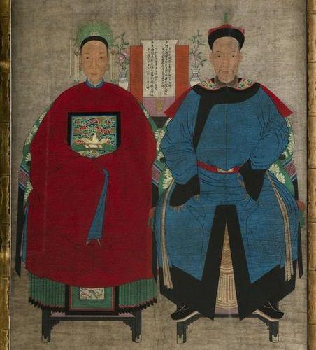Chine, XXe siècle Grande peinture sur papier représentant un couple de dignitair…