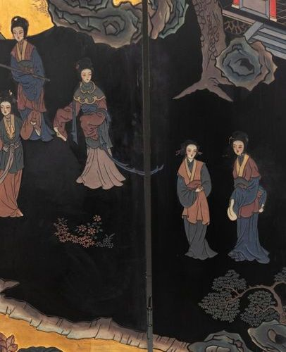 China, 20th century Large six panel folding screen in polychrome and gilded Coro…