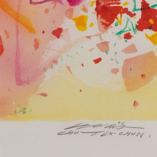 CHU Teh Chun (1920 2014) Joyous moment , circa 2004 Lithographie en couleurs Epr…