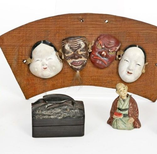 Japan, Meiji period (1868 1912) Lot including: a carved and lacquered wooden sam…