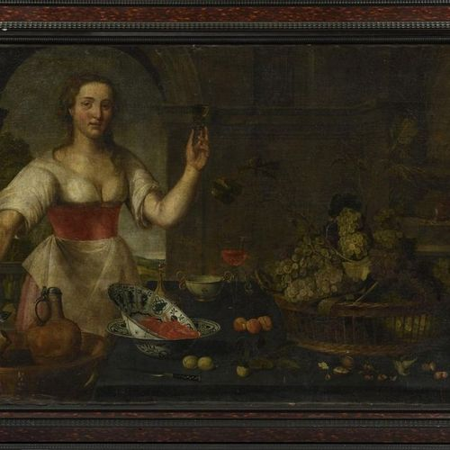 Flemish school around 1630, surrounded by Frans SNYDERS Young cook near a basket…
