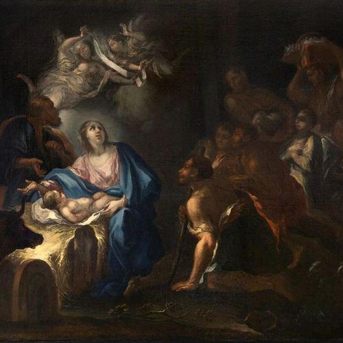 Surrounding Luca GIORDANO (Naples, 1634 1705) Adoration of the shepherds Oil on …
