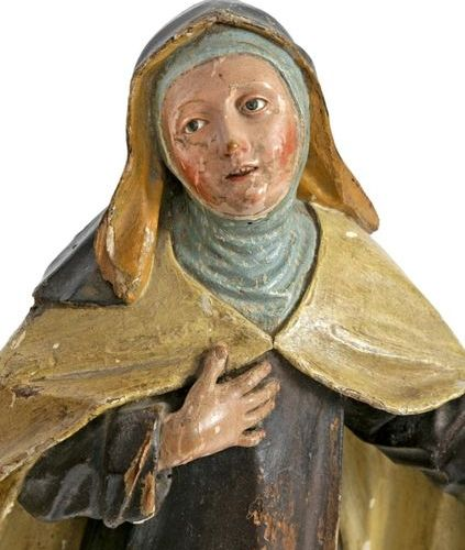 St. John and St. Theresa Two statues in carved and polychromed wood Probably a w…