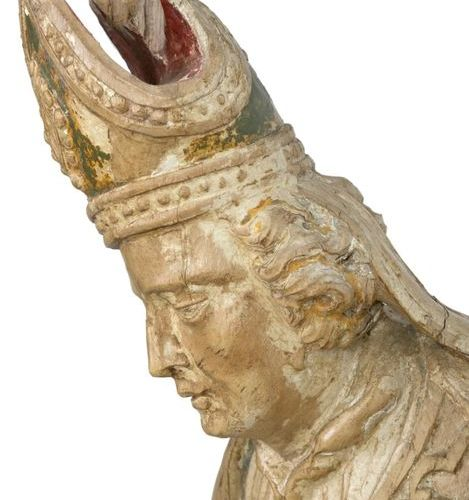 Saint Nicholas on a reliquary base Carved wood with traces of polychromy Late 17…