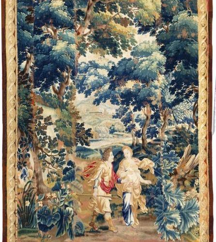Venus and Adonis Woollen tapestry with borders decorated with interlacing and st…