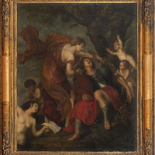 Flemish School, late 17th century Diane and Endymion Oil on canvas mounted on ca…