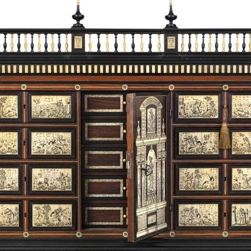Large cabinet and its support in rosewood veneer and engraved bone inlays, openi…