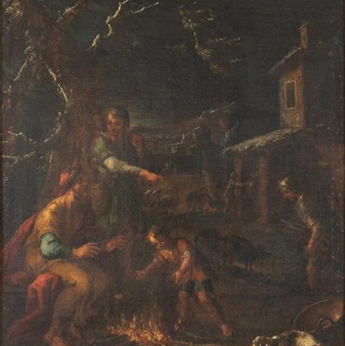 School of Northern Italy, circa 1700 Scene with shepherds Oil on canvas, retoole…