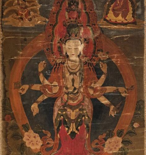 Tibet, 18th century Tanka representing a deity with seven arms and eleven heads …