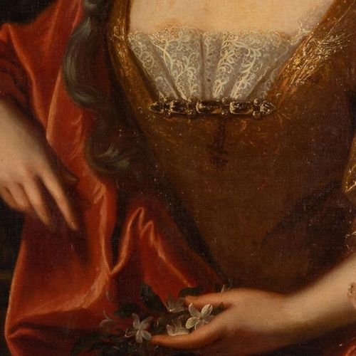 French School, 18th century Portrait of a lady of quality Oil on canvas maroufla…
