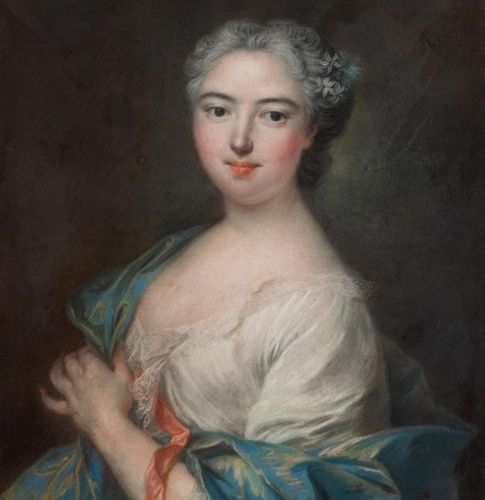 French School, 18th century Portrait of a lady of quality Pastel on paper glued …