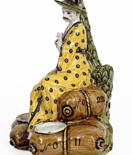 Large inkwell with three cups in polychrome earthenware from Lille in the shape …