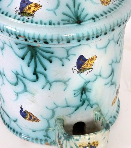 Large bird feeder in polychrome Brussels earthenware decorated with insects and …