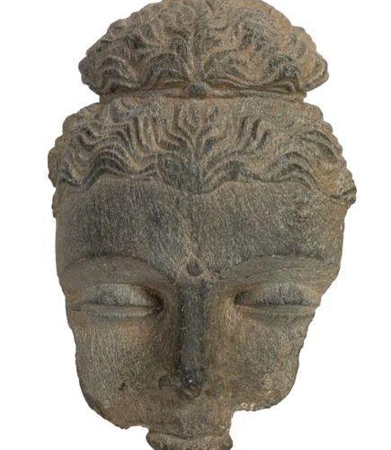 Gandhara II IIIth century Piece of Shakyamuni Buddha's head in grey shale repres…