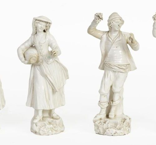 Young peasants and shepherds Series of four fine white earthenware statuettes Pr…