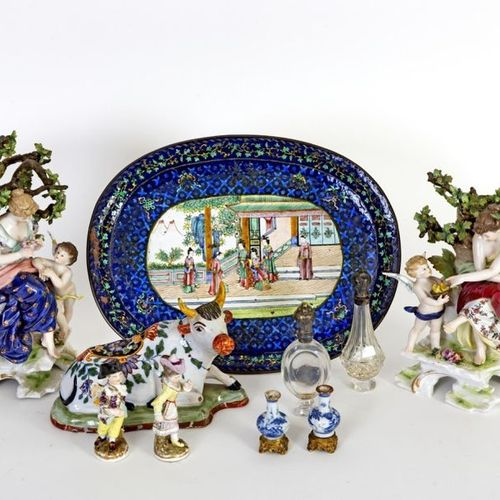 Set of ten pieces comprising: A small oval Canton enamelled copper dish decorate…
