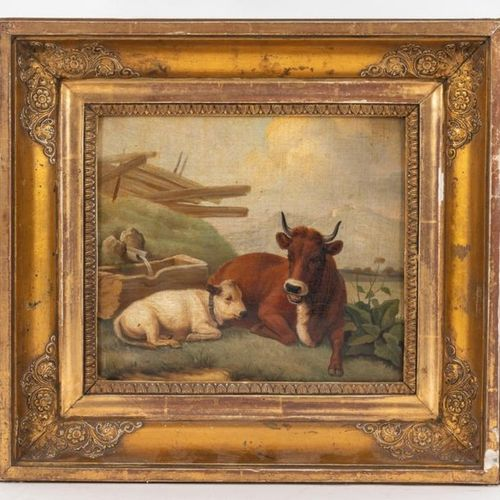 Late 18th early 19th century Cow and calf at the drinking tr ough Oil on canvas …